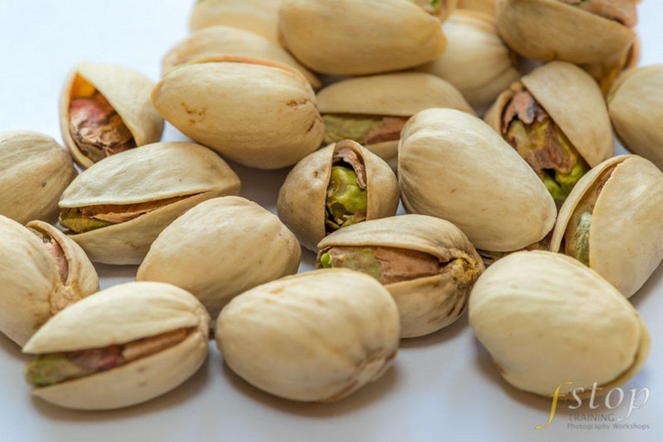 Focus stacking example using an image of pistachio nuts.