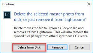 Delete image dialogue box