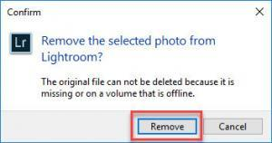 Remove Photo dialogue box