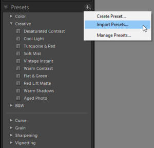 Import free Lightroom Presets