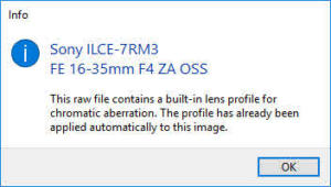 Lens Profile Correction information window