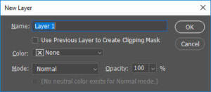 New Layer Dialogue window
