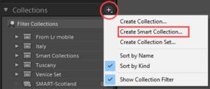 Create Smart Collection menu