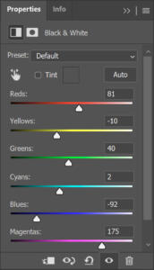 Black and White adjustment layer-Properties