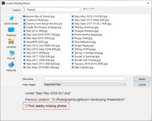 Moving Lightroom Classic to a new computer Find nearby missing photos