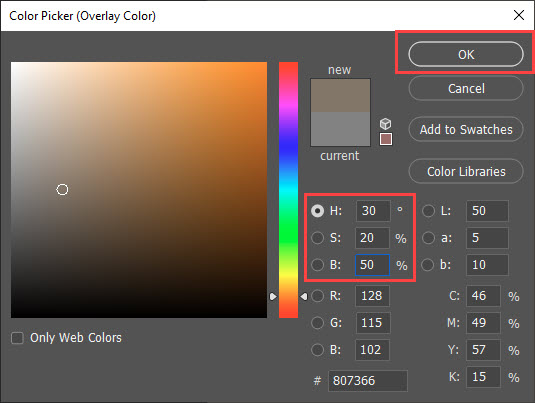 Color Picker settings for Sepia Tone Effect in Photoshop