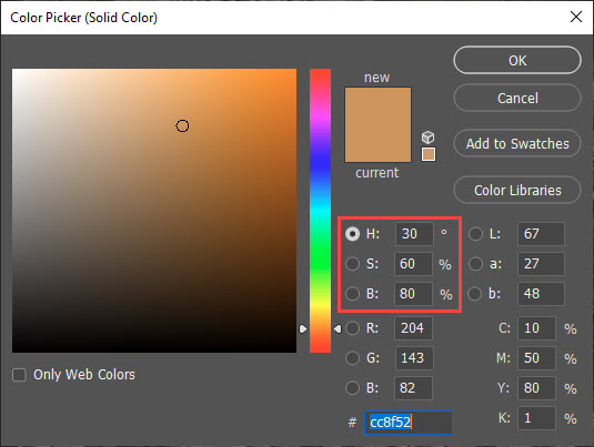 Color Picker for Sepia Tone Effect in Photoshop